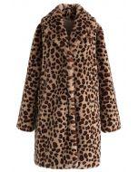 Brown Leopard Faux Fur Longline Coat with Collar
